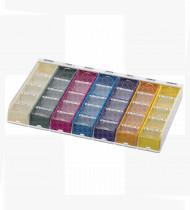 Organizador semanal pequeno colorido c/ peças em plástico - 320x200x39mm
