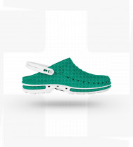 Soco Wock Clog verde/branco c/presilha Tam 36/37