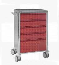 Carro de Assistência, estrutura e frente das gavetas aço c/acabamento epoxy