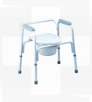 Cadeira de banho alumínio c/encosto baixo s/rodas