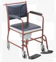 Cadeira de banho em aço rodada c/patins e braços amovíveis