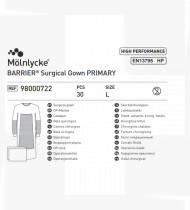 Bata cirúrgica reforçada Primary L 127 cm