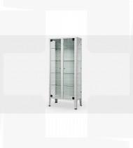 Armário de medicamentos, c/2 portas vidro estrutura em aço c/acabamento epoxy e pés inox 380x750x1690mm