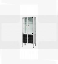 Armário instrumentos c/ cacifo c/2 portas em vidro, estrutura + 2 portas em aço c/acabamento epoxy e pés inox 380x750x1690mm