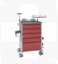Carro de Emergência, estrutura e frente das gavetas em aço c/ acabamento epoxy