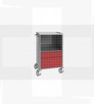Carro de pensos, estrutura em inox c/ um cacifo e duas gavetas