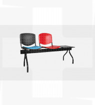 Banco 2 lugares+mesa,estrutura em aço acabamento epoxy preto, assento estofado encosto plástico 516x1590x793mm