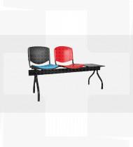 Banco 2 lugares + mesa, estrutura em aço acabamento epoxy preto, assento e encosto em Faia 516x1590x793mm