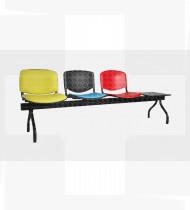 Banco 3 lugares + mesa, estrutura em aço acabamento epoxy preto, assento estofado, encosto plástico 513x2135x815mm