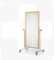 Espelho articulado móvel , s/ quadriculado, c/estrutura em aço, acabamento epoxy c/ aro em madeira