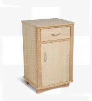 Mesa Cabeceira Melamina, cantos madeira, 1 gaveta + 1 porta
