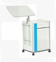 Mesa de cabeceira e comer no leito em ABS,estrutura em aço c/ acabamento epoxy,colunas em alumínio