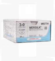 Fio de sutura Mersilk não absorvível 3/0 ag. lanceolada 26mm cx36