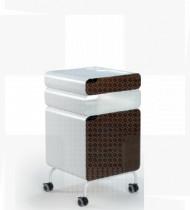 Mesa Cabeceira c/ estrutura metálica, frente e traseira em melamina faia ou cerejeira