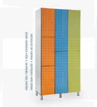 Vestiário duplo em fenólico c/pés reguláveis em plástico, 4 cacifos 500x650x1800mm
