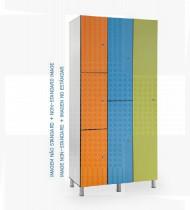 Vestiário duplo em fenólico c/ pés reguláveis em plástico, 6 cacifos 500x650x1800mm